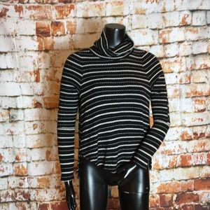 We The Free Black and White Striped Sweater